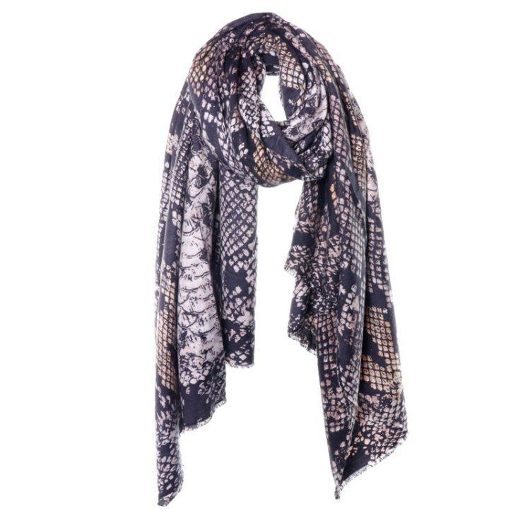 Biba sjaal in bruin tinten met dierenprint