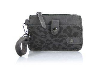 Kleine portemonnee met sleutelring en panterprint-grijs