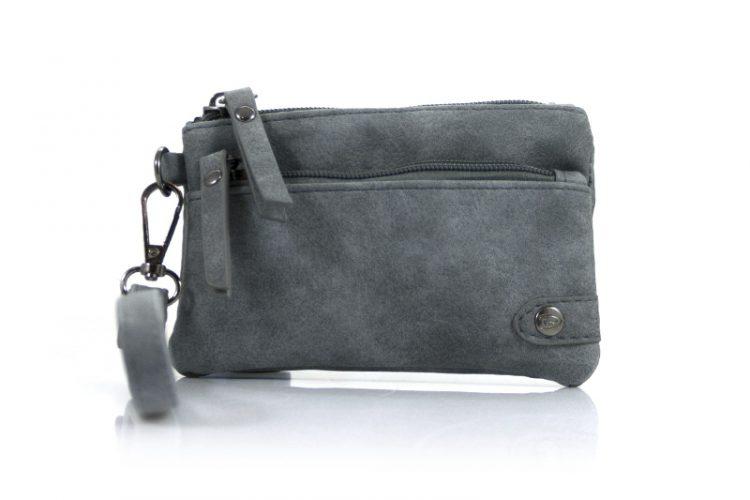 Kleine portemonnee met voorvak grijs met ritssluiting