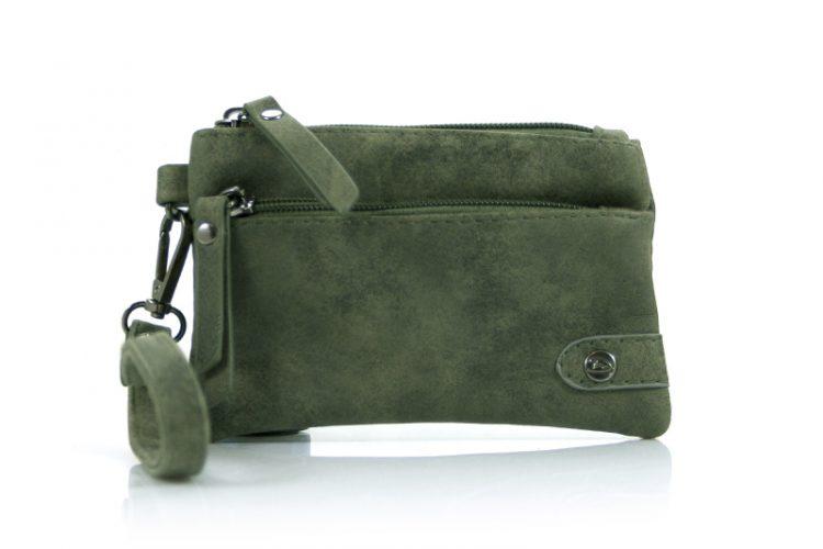 Kleine portemonnee met voorvak groen met ritssluiting