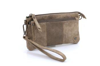 Handige portemonnee – tasje licht bruin met voorvak