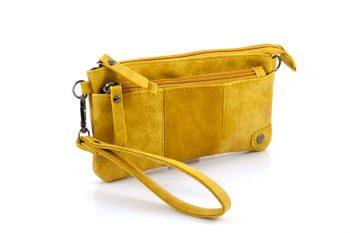Handige portemonnee - tasje oker geel met voorvak