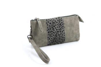 Grote portemonnee - telefoontasje met pantervachtje grijs