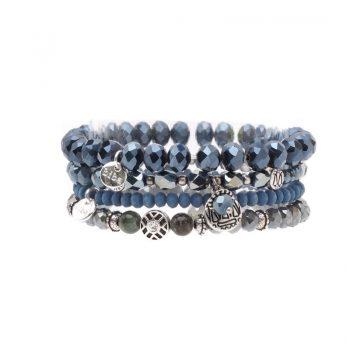 Biba kralen armbanden blauw 4 stuks