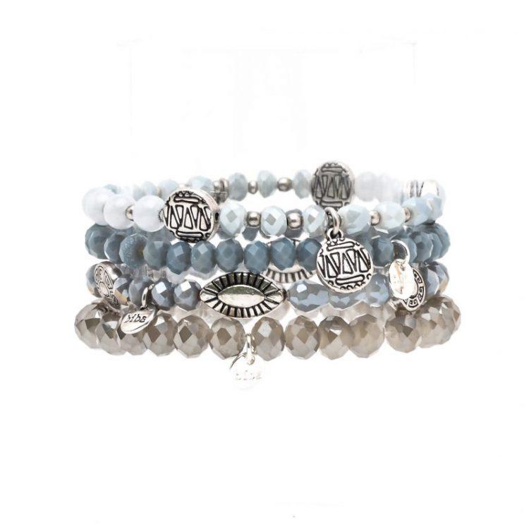 Biba kralen armbanden blauw tinten 4 stuks