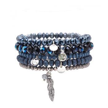 Biba kralen armbanden blauw tinten 5 stuks