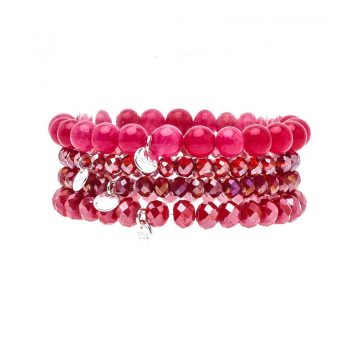 Biba kralen armbanden rood 4 stuks