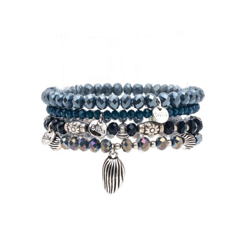Biba kralen armbanden tinten blauw 4 stuks