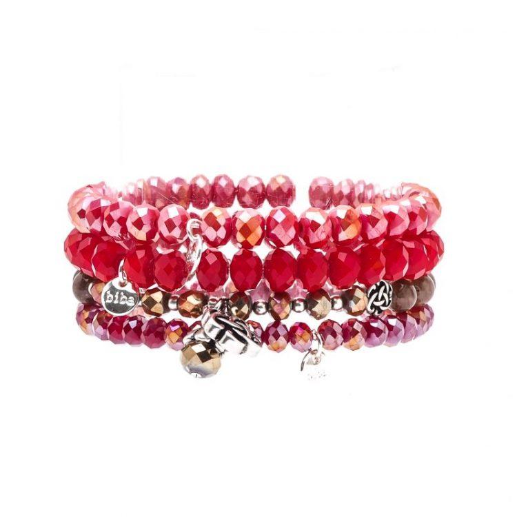 Biba kralen armbanden in rood tinten 4 stuks