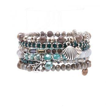 Biba kralen armbanden inbouw-grijs 6 stuks