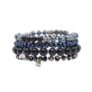 Biba kralen armbanden blauw-zwart 4 stuks