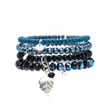 Biba kralen armbanden blauw-zwart blad 4 stuks