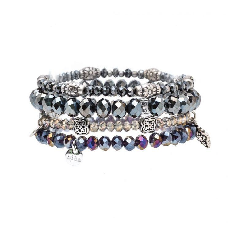 Biba kralen armbanden paars metallic 4 stuks