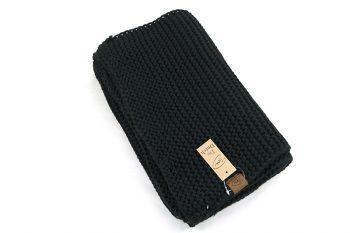 Grof gebreide warme sjaal zwart