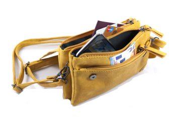 Oker geel heuptasje met 3 vakken crossbody binnenkant