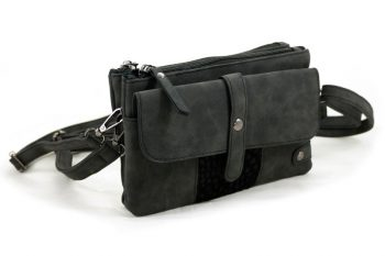 Zwart schoudertasjes- heuptasje anti skim