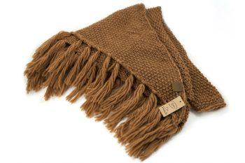Driehoek sjaal - omslagdoek met franjes - camel