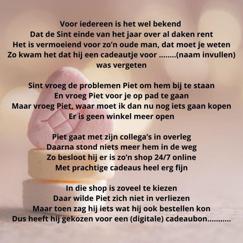Sinterklaas gedicht voor een vergeten of laat cadeau - blingdings.nl