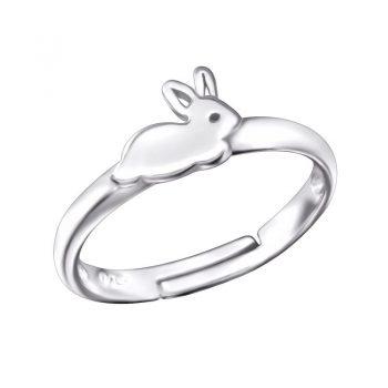 Kinderring zilver met konijntje - one size