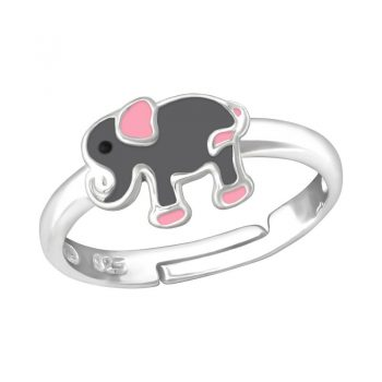 Kinderring zilver met olifant grijs roze- one size