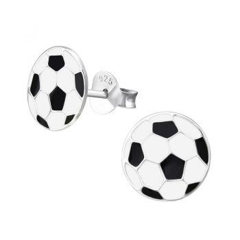 Zilveren kinderoorbellen voetbal zwart wit 9mm