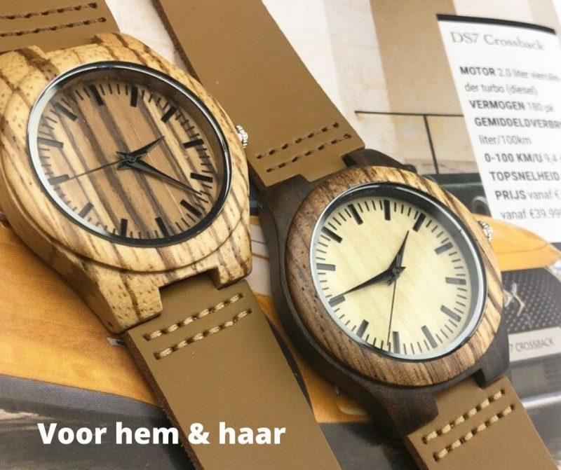Horloges voor mannen en vrouwen - valentijn tip houten horloge