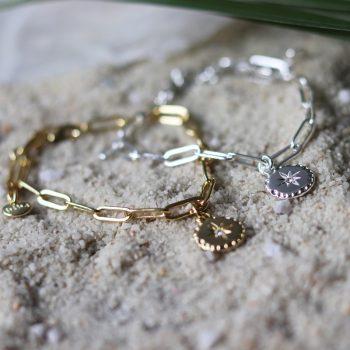 Biba armband met ronde hanger en Swarovski steentje