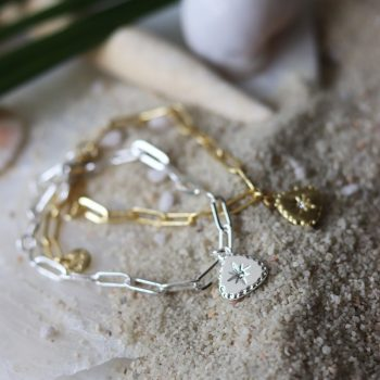 Biba armband driehoek hanger en Swarovski steentje schakelarmband