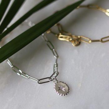 Biba armband met ovale hanger en Swarovski steentje