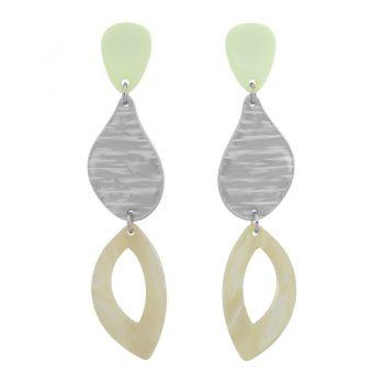 Biba oorbellen in flex hanger licht groen zilverkleur