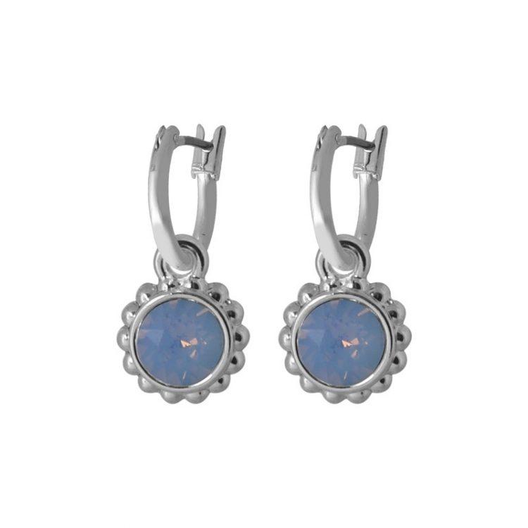 Biba creolen met hanger in Swarovski kleuren air blue