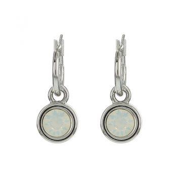 Biba oorringen white opal facet steen