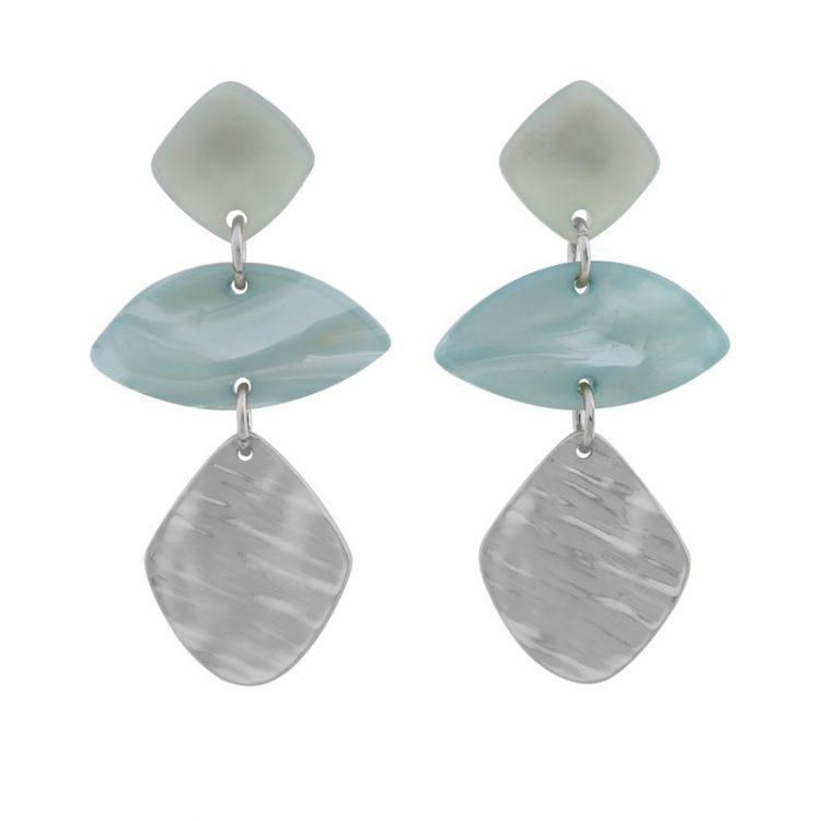 Biba zilver metaal art ovaal oorbellen groen blauw