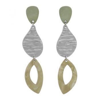 Biba oorbellen in flex hanger zacht olijfgroen zilverkleur