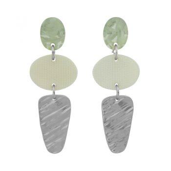 Groene oorhanger Biba zilverkleurig 81323mix1