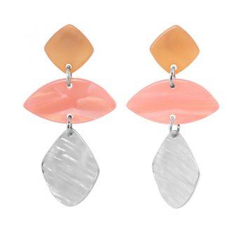 Biba zilver metaal art ovaal oorbellen karamel roze