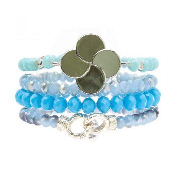 Biba kralen armbanden licht blauw bloem 4 stuks