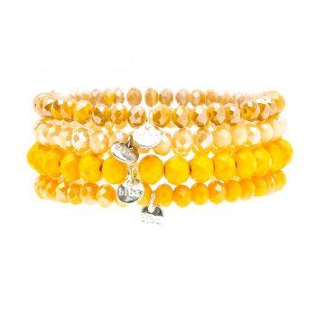 Biba kralen armbanden facet geslepen geel tint 4 stuks