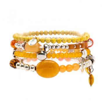 Biba kralen armbanden facet geslepen geel-oranje tint 4 stuks