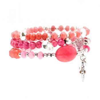 Biba kralen armbanden roze - zilverkleurig 3 stuks