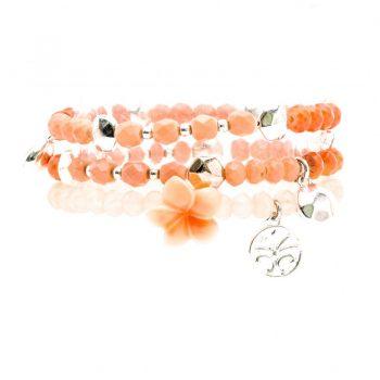 Biba kralen armbanden roze bloem - zilverkleurig 3 stuks