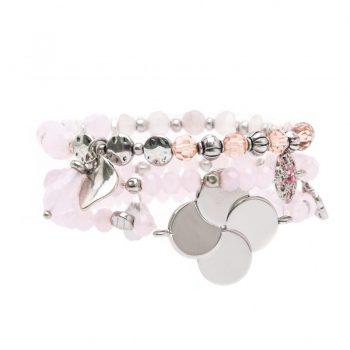 Biba kralen armbanden zacht roze bloem 3 stuks