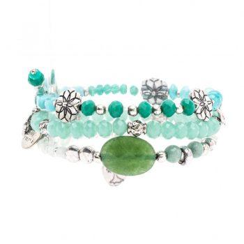 Biba kralen armbanden groen-zilverkleurig 3 stuks