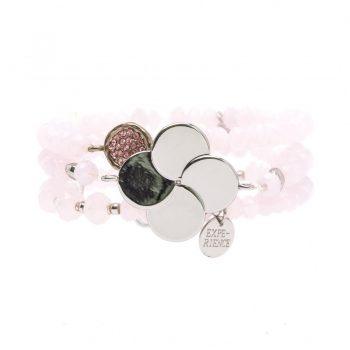 Biba kralen armbanden roze zilverkleurige bloem 3 stuks
