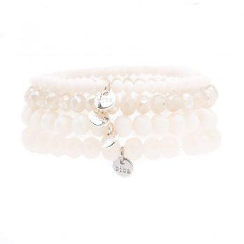Biba armbanden wit verschillende soorten kralen - 4 stuks