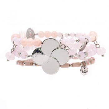 Biba kralen armbanden roze bloem zilverkleurig 3 stuks