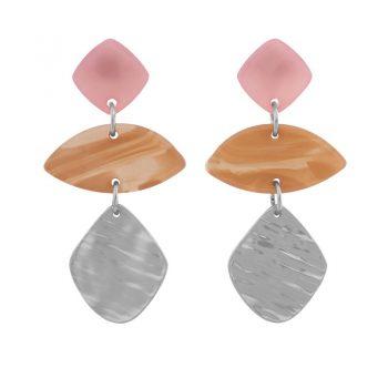 Biba zilver metaal art ovaal oorbellen roze zalm