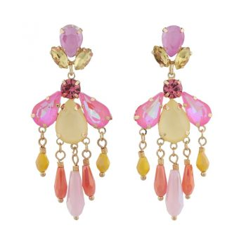Biba oorbellen gekleurde crystal kralen - roze