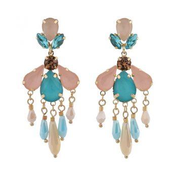 Biba oorbellen gekleurde crystal kralen - blauw