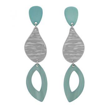 Biba oorbellen in flex hanger groen zilverkleur